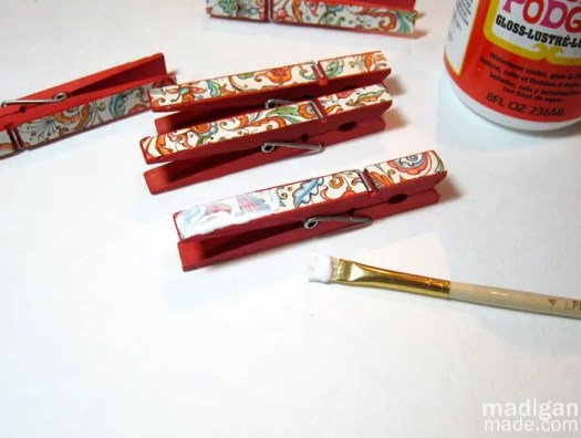 decoupage clothespins