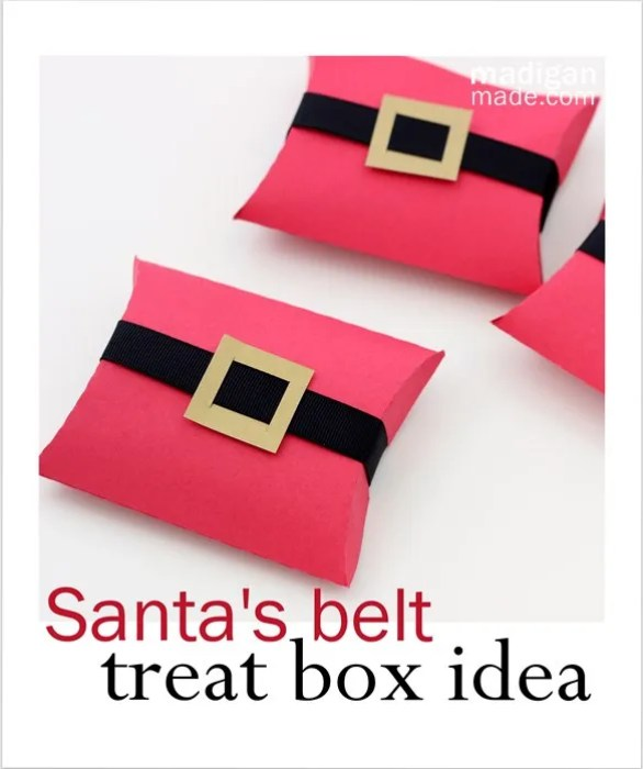 simple Christmas treat gift - Santa's belt pillow boxes