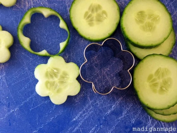 Cute idea for cucumber appetizers! Recipe for cucumber flowers at madiganmade.com