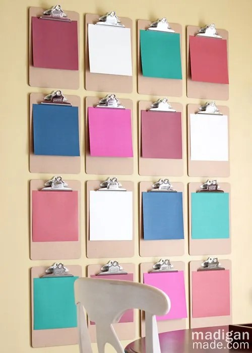 Love this DIY Clipboard Wall Art - details at madiganmade.com