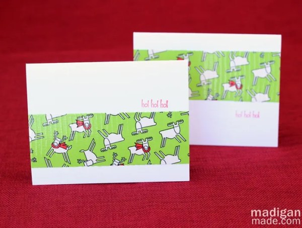 Easy holiday card made with Duck tape