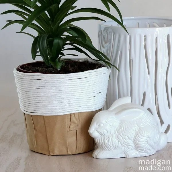 easy craft and gift idea: rope covered plant container