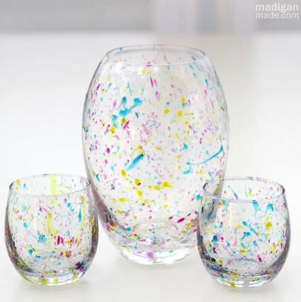 DIY Splatter Painted Glass Vases
