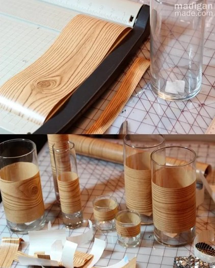 wood grain contact paper around vases - madiganmade.com