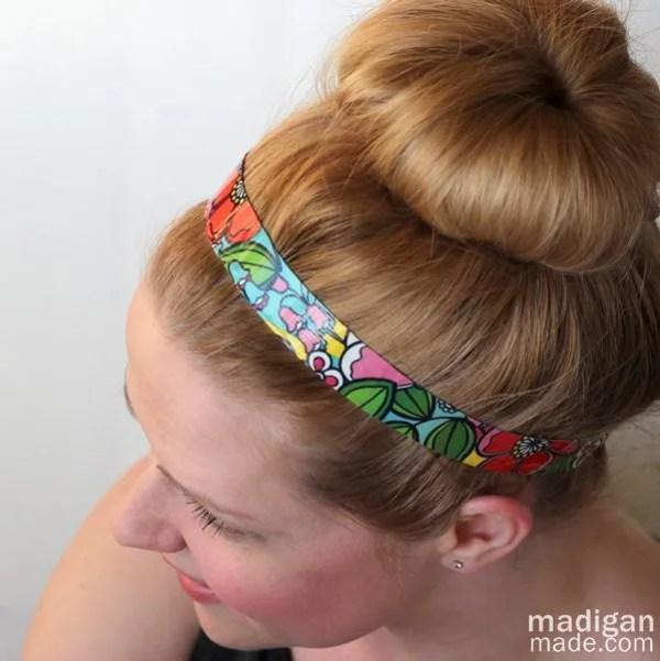 hair updo with a DIY (duck tape!) headband