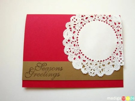this red white and gold doily card is the original mock up for the christmas card i planned to make this year - Handmade Christmas Cards Ideas