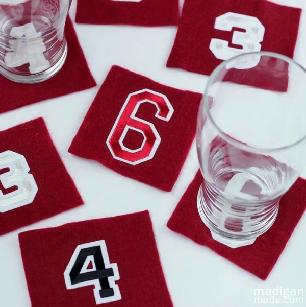 handmade coasters with athletic iron-on numbers