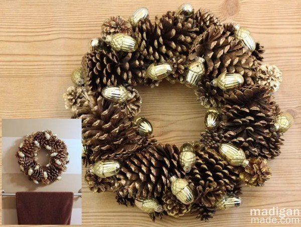 Beautiful pine cone wreath - part of the holiday home tour at madiganmade.com