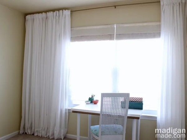 Office decor with DIY long curtains and curtain rod (part of the Summer Tour of Homes with The Shabby Creek Cottage)