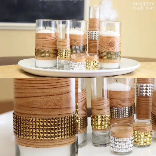 modern fall décor idea: wood grain and studded DIY vases: madiganmade.com