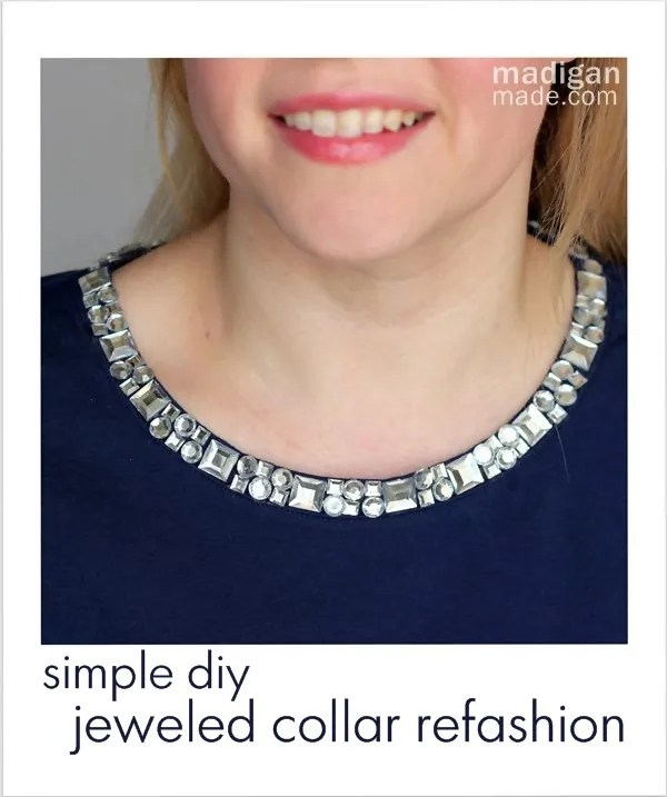DIY jeweled collar refashion craft at madiganmade.com