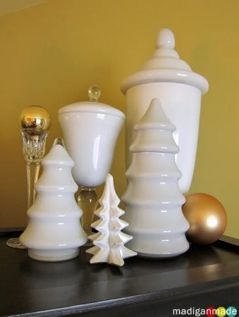 milkglass trees gold holiday display