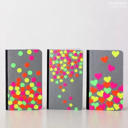 neon diy notebooks