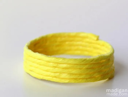 neon diy bracelet with raffia