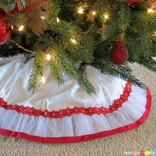 madigan made a red and white fluffy christmas tree skirt - White Christmas Tree Skirts