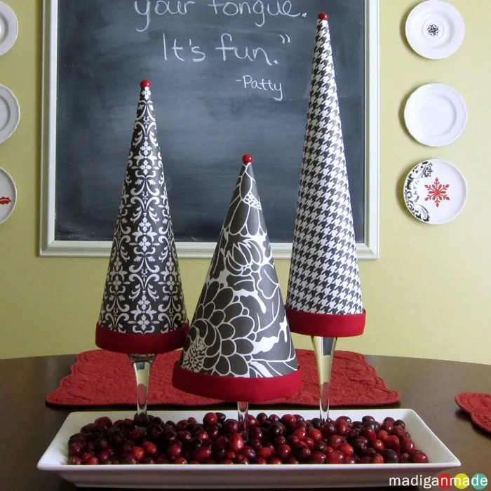 Home Made Modern Pinterest Easy Christmas Decorating Ideas: Easy DIY Topiary Trees From Pretty Paper And Wine Glasses
