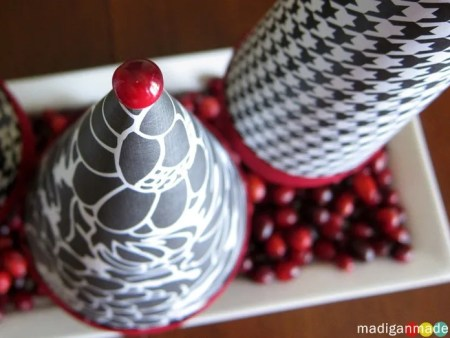 paper cone tree craft with red berries