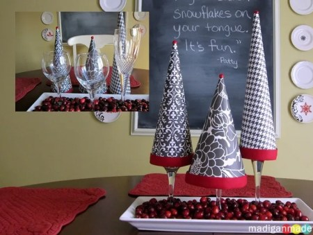 wine glasses as base for paper topiary trees