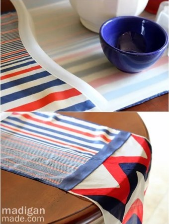 simple red, white and blue  table runner