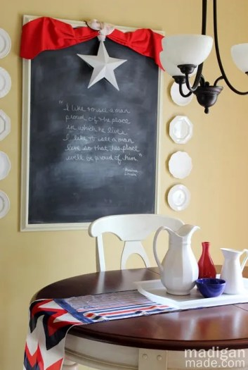 chalkboard and patriotic decor