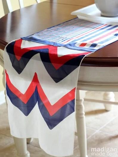 patriotic vintage scarf table runner