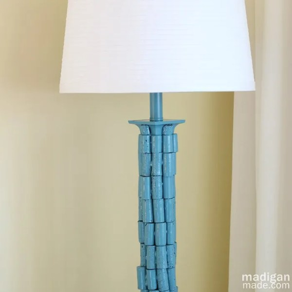 Painted Lamp Makeover with Wine Corks