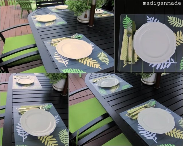 Place Mats from Plastic Chopping Mats Leaves