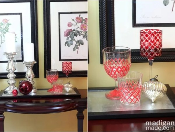 red and silver decor - part of the holiday home tour at madiganmade.com