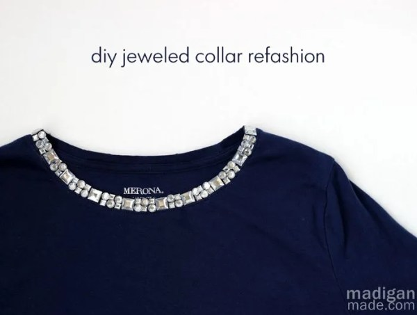 Rhinestone collar craft refashion - madiganmade.com