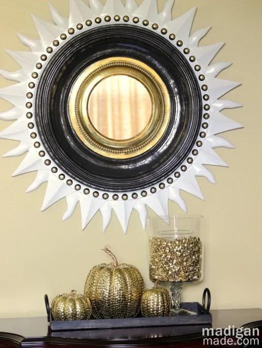Elegant decor idea: thumbtack vase filler and pumpkins. - details at madiganmade.com