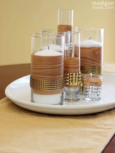 DIY Studded Faux Bois Fall Centerpiece - madiganmade.com