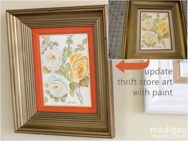 update thrift store art with glass paint