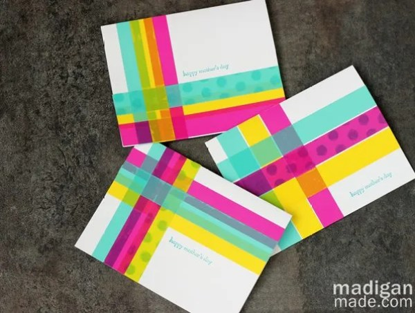 washi tape cards with CMYK colors and plaid patterns