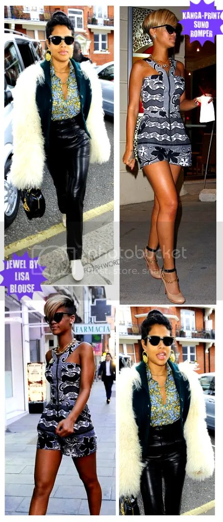 Kelis in a Jewel By Lisa Blouse and Rihanna in Kanga print SUNO romper
