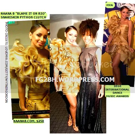 Mya ROCKS AN EXCLUSIVE Naana B Blame It On Rio snakeskin python clutch