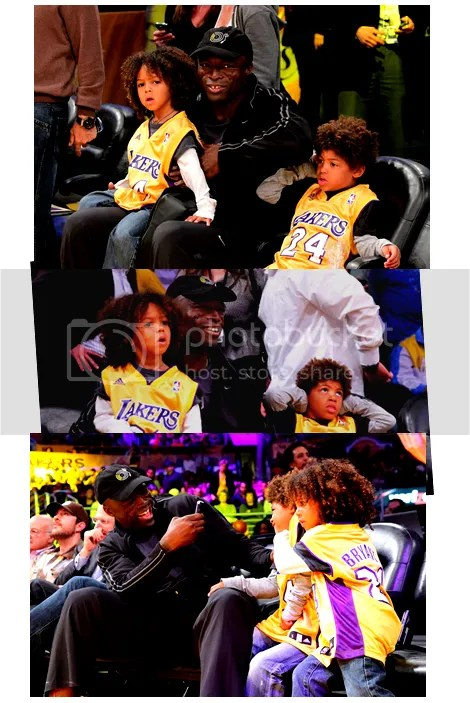 Seal Takes His Sons Johan & Henry Out To See The L.A. Lakers