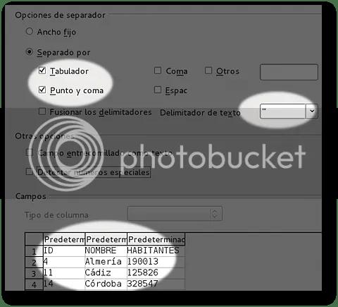 asistente para la importación de ficheros de datos delimitados por tabuladores