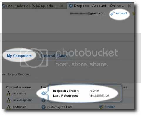 obtener la ip externa de un equipo utilizando dropbox