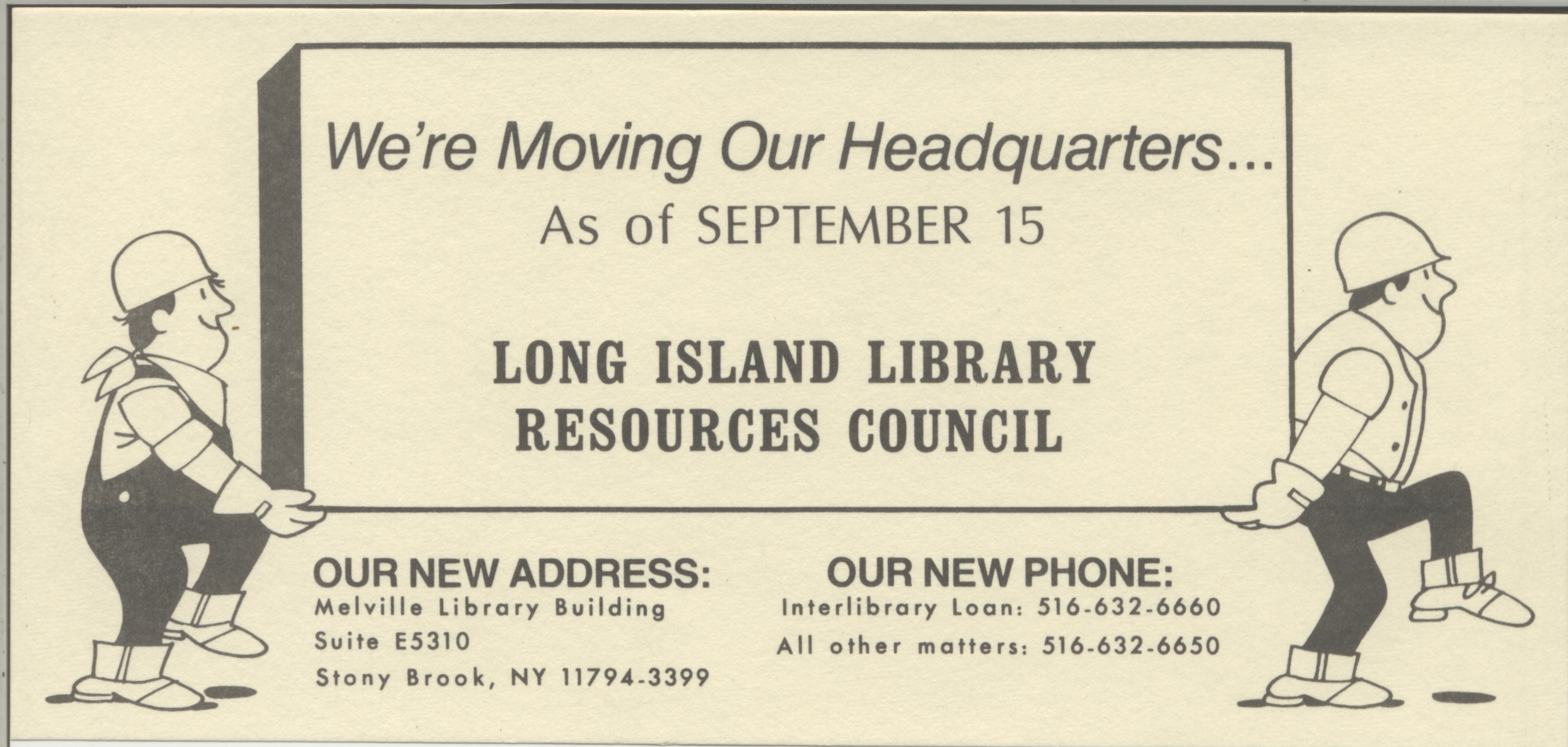 Were Moving Our Headquarters from previous LILRC move in 1986