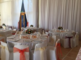 Itchen Abbas and Avington Village Hall dressed for a wedding reception