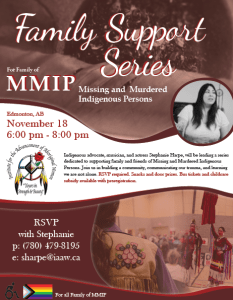 Missing and Murdered Indigenous Persons Family Support Series IAAW 2019