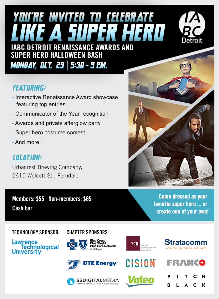 iabc detroit renaissance awards and super hero halloween bash