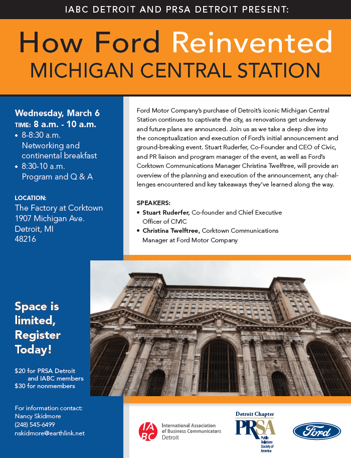 How Ford Reinvented the Michigan Central Station - March 6 @ 8:00 AM
