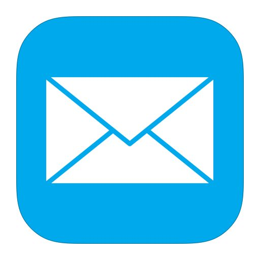 Image showing iOS Mail app icon Mail icon is a white envelope with a blue background.