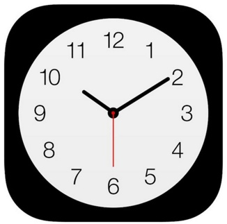 Image showing the clock icon for iOS. icon is a picture of a clock on back background. Minute Hand is at 2 and hour hand is at 10.