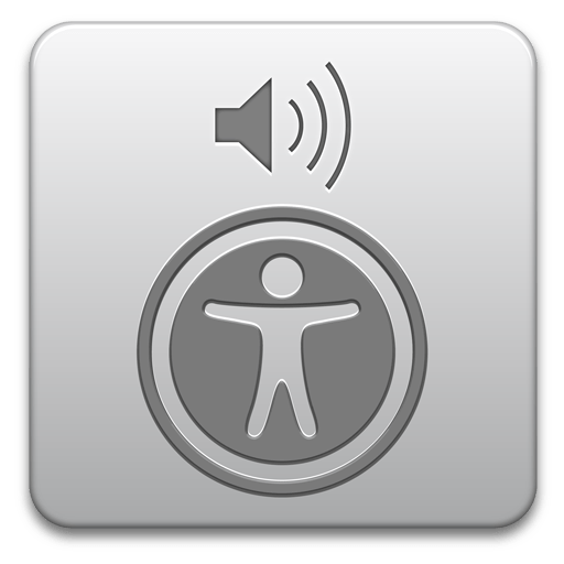 Image showing VoiceOver icon. icon is a grey gradient to white with a universal access symbol and a speaker with sound waves going to the right.