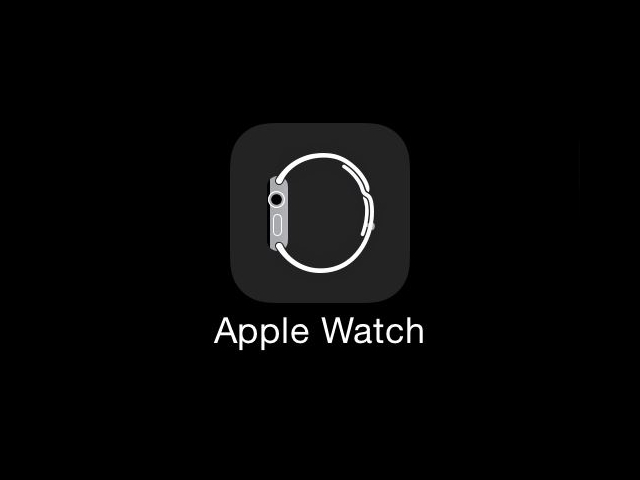 Image with dark background with Apple Watch app icon with label in the center.