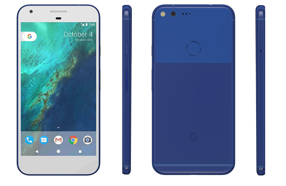 Image showing front, side and back shots of the Really Blue Google Pixel
