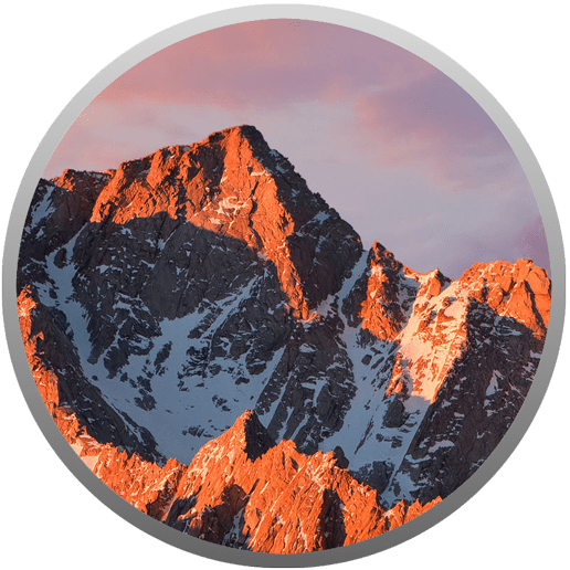 Image of the macOS Sierra App Store Icon, which is mountains and sky inside of a circle with a border.