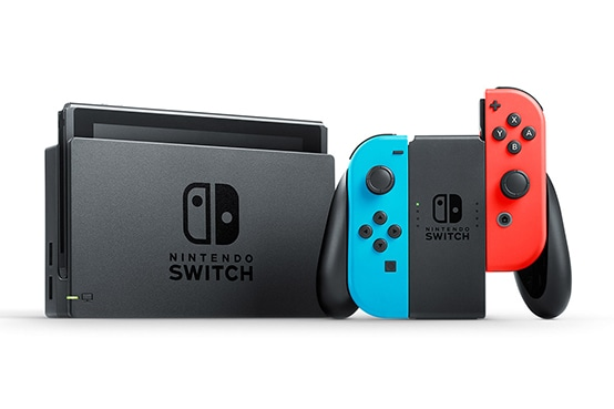 Nintendo Switch console with red and blue JoyCons.